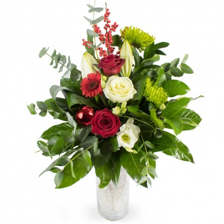 Christmas Wishes Vase of Flowers
